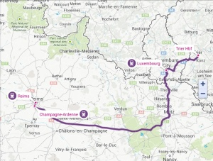 This map shows the travel route by train from Reims to Trier, a 6- hour trip with changes in Ardennes and Luxembourg