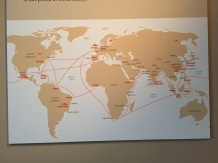 Map showing trade routes and products traded