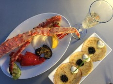 Kamchatka King Crab with Roasted Vegetables, Caviar and Sour Cream on Blinis, and Prosecco in Arbatskaya
