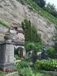 Garden in front of cliff