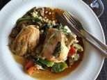 Roasted Chicken on Bed of Vegetables and Hominy, Salzburg