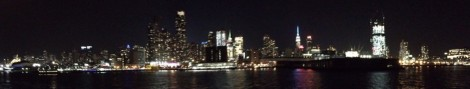 New York Skyline from Hudson River at Night