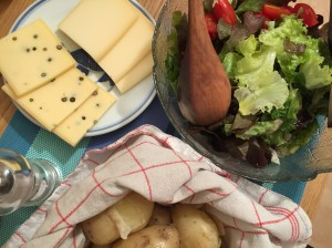Swiss Cheese, Salad, and Potato for Raclette