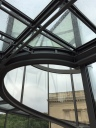 Glass-top roof over stairs
