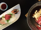 Sashimi with Beef Sukiyaki