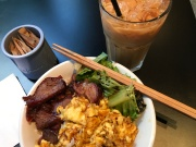 Congteakafe Scrambled Egg, Roasted Pork, and Veggie with Iced Milk Tea for $6.50