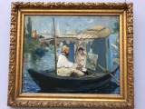 Monet Painting on his Boat, 1874